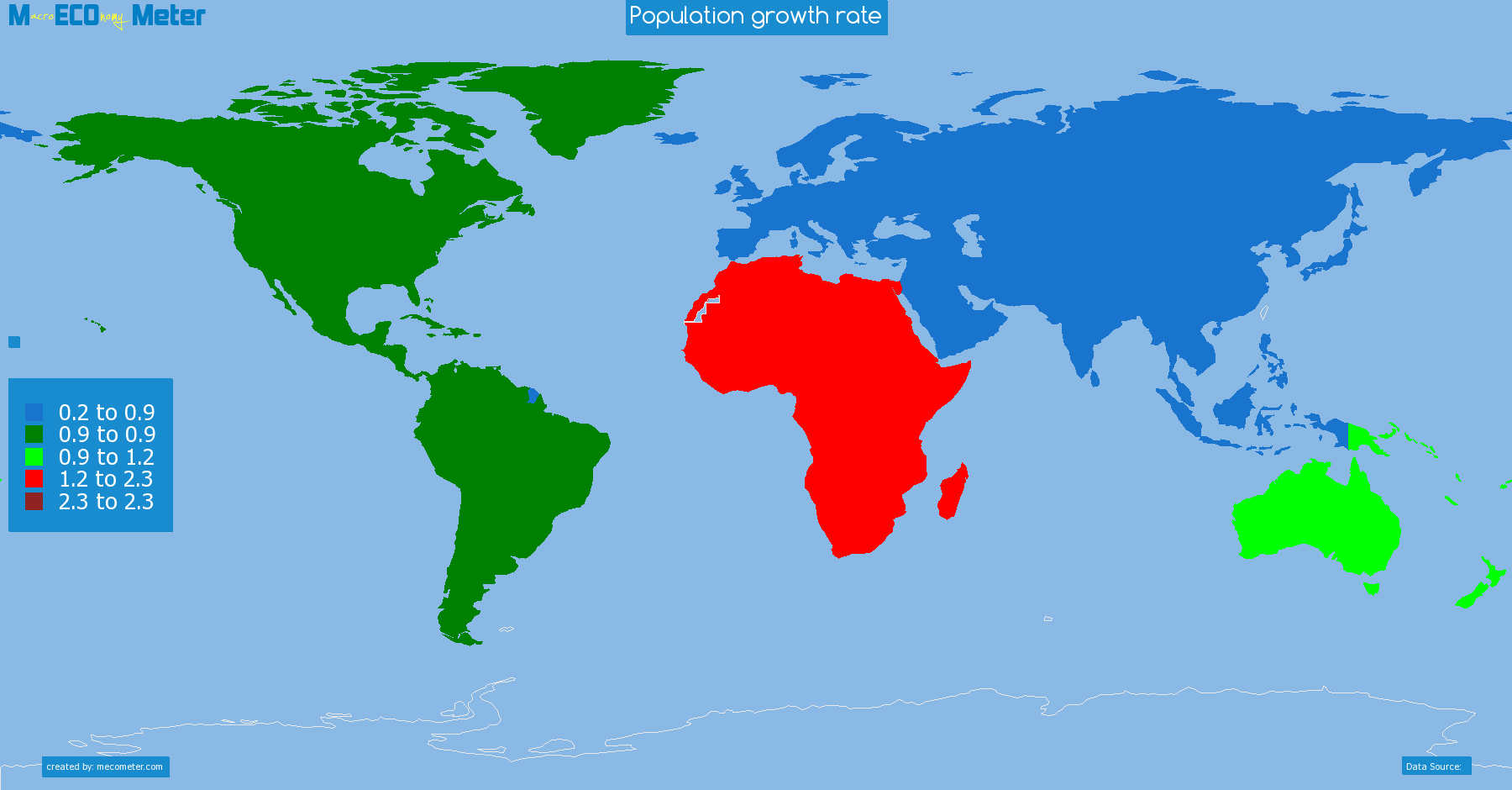 Population growth rate by continent