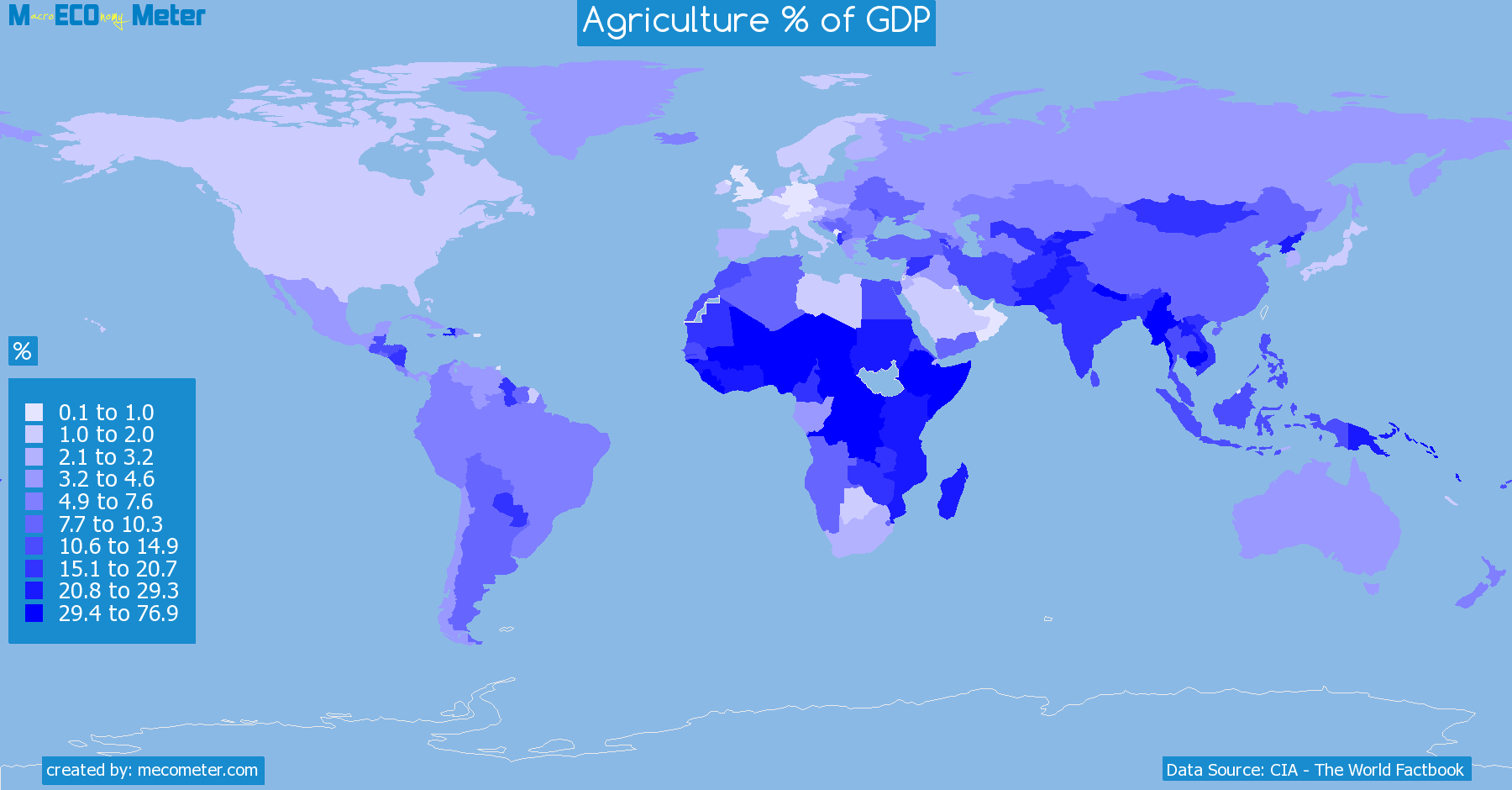 Worldmap of all countries colored to reflect the values of Agriculture % of GDP
