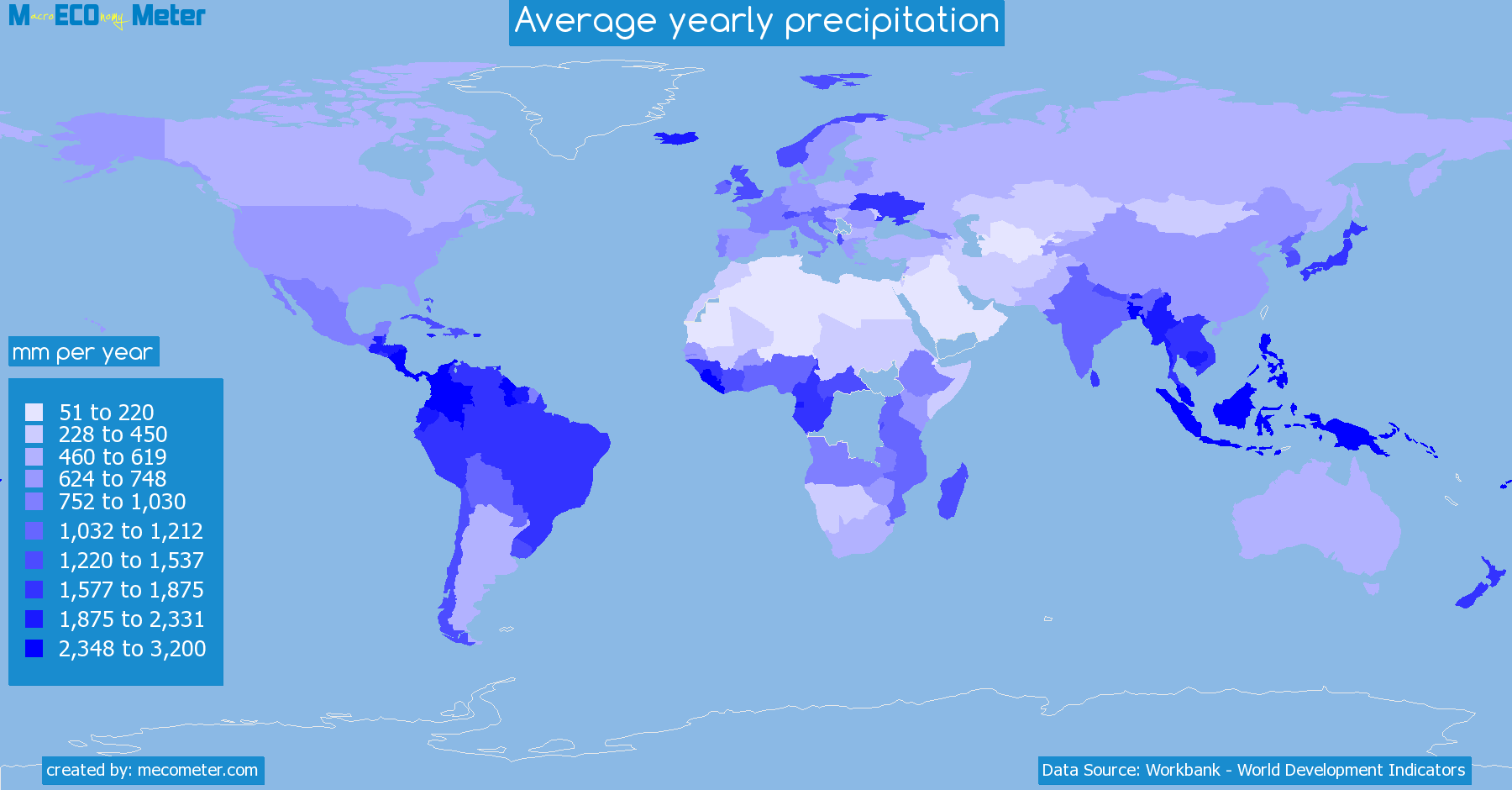 Worldmap of all countries colored to reflect the values of Average yearly precipitation