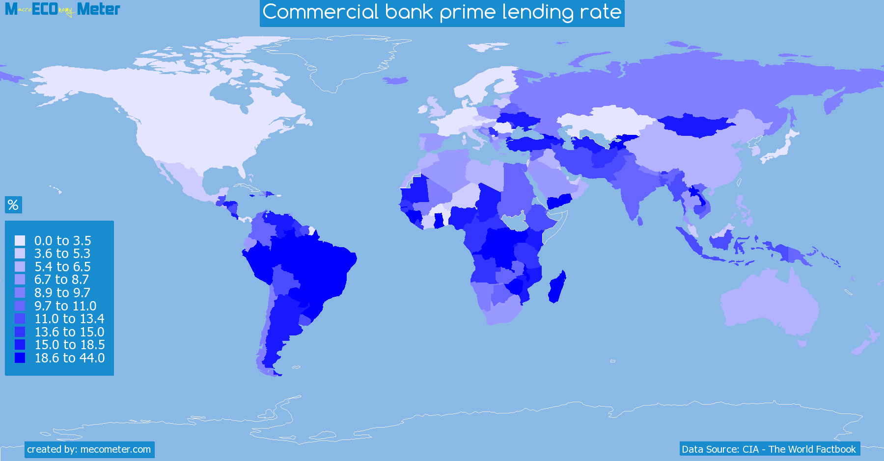 Worldmap of all countries colored to reflect the values of Commercial bank prime lending rate