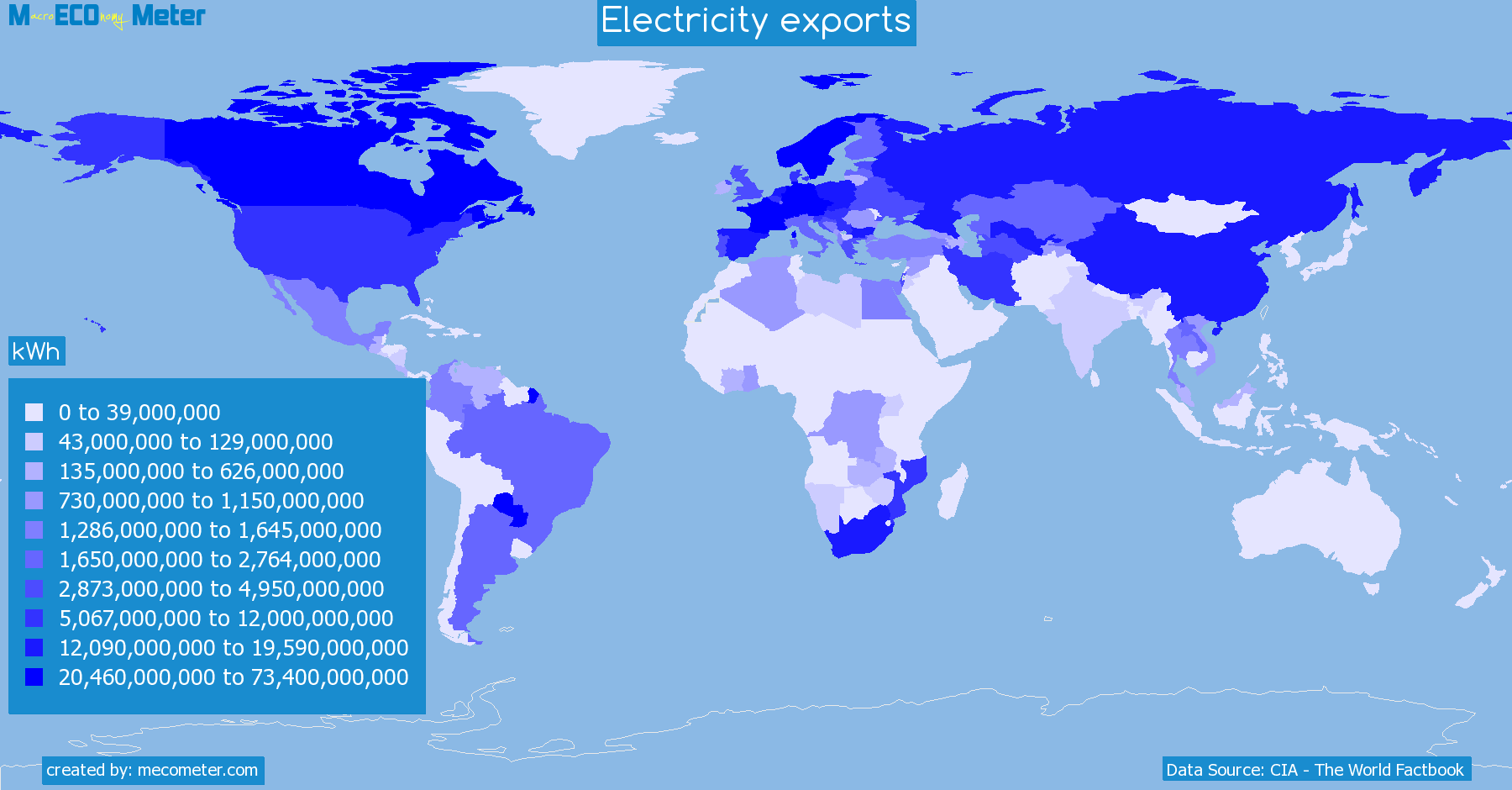 Worldmap of all countries colored to reflect the values of Electricity exports