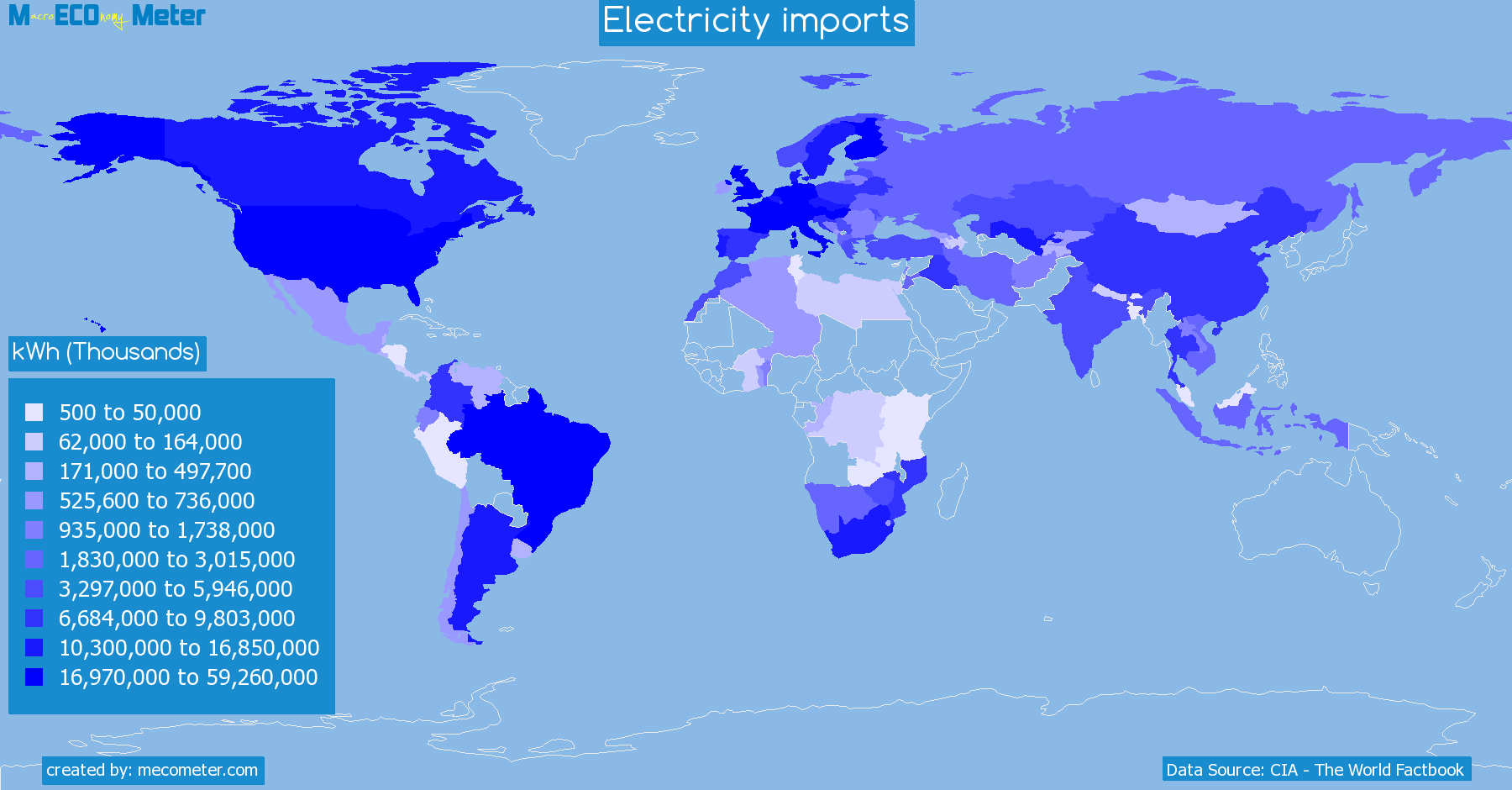 Worldmap of all countries colored to reflect the values of Electricity imports