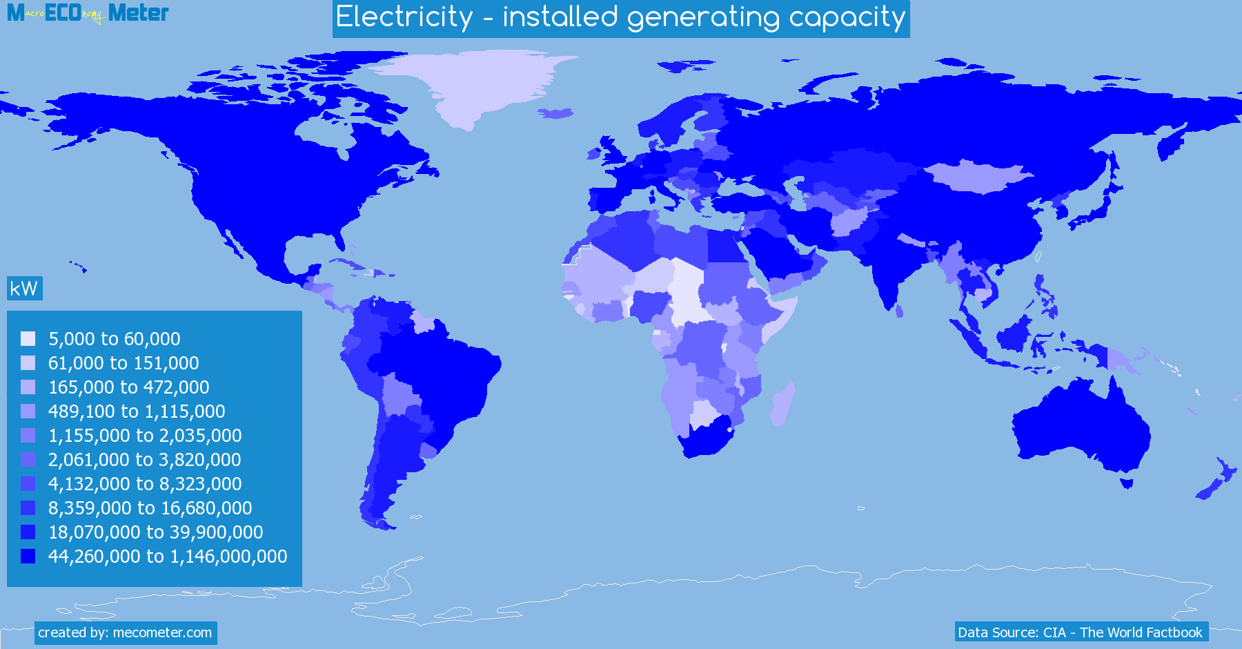 Worldmap of all countries colored to reflect the values of Electricity - installed generating capacity