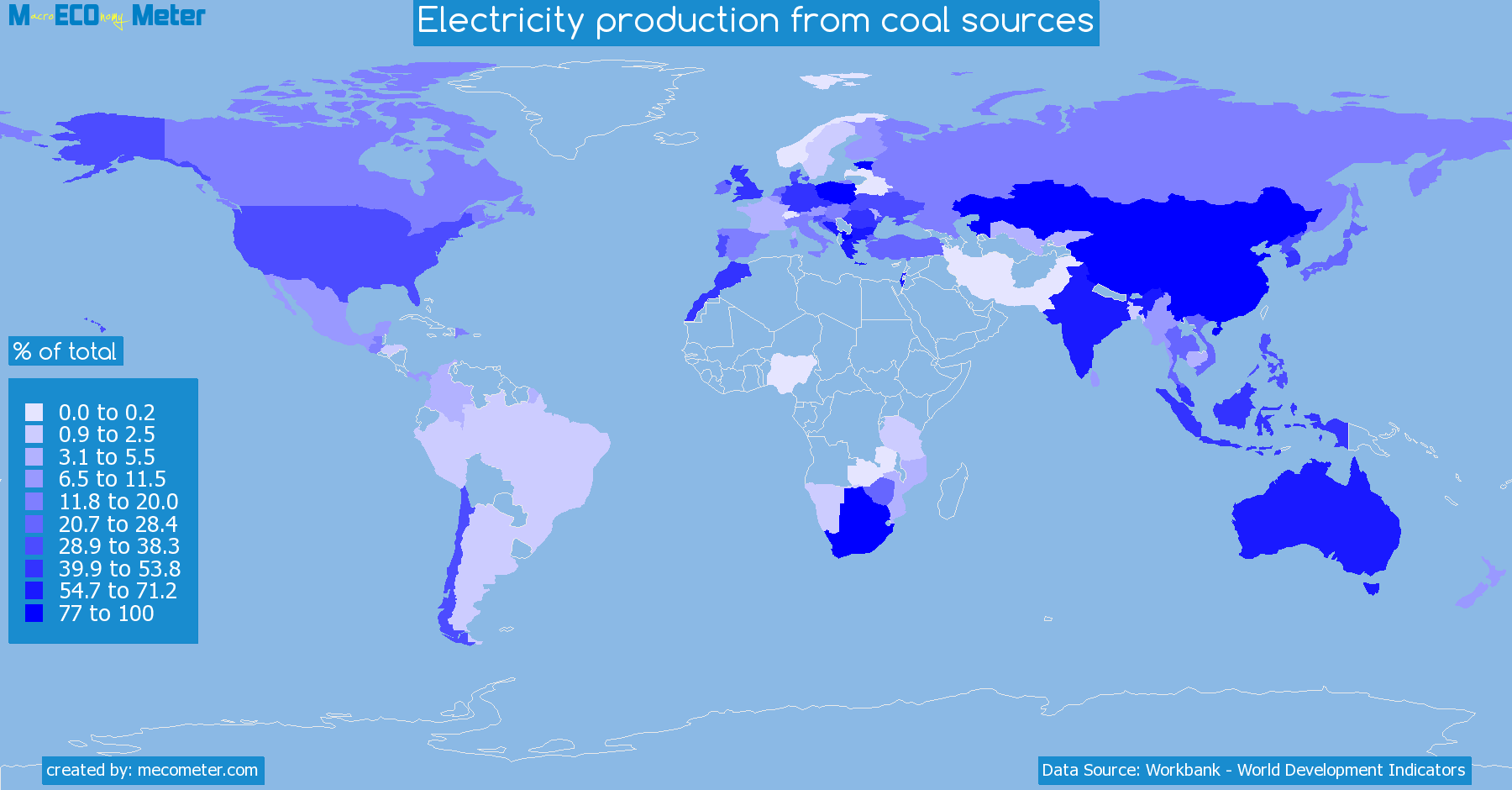 Worldmap of all countries colored to reflect the values of Electricity production from coal sources