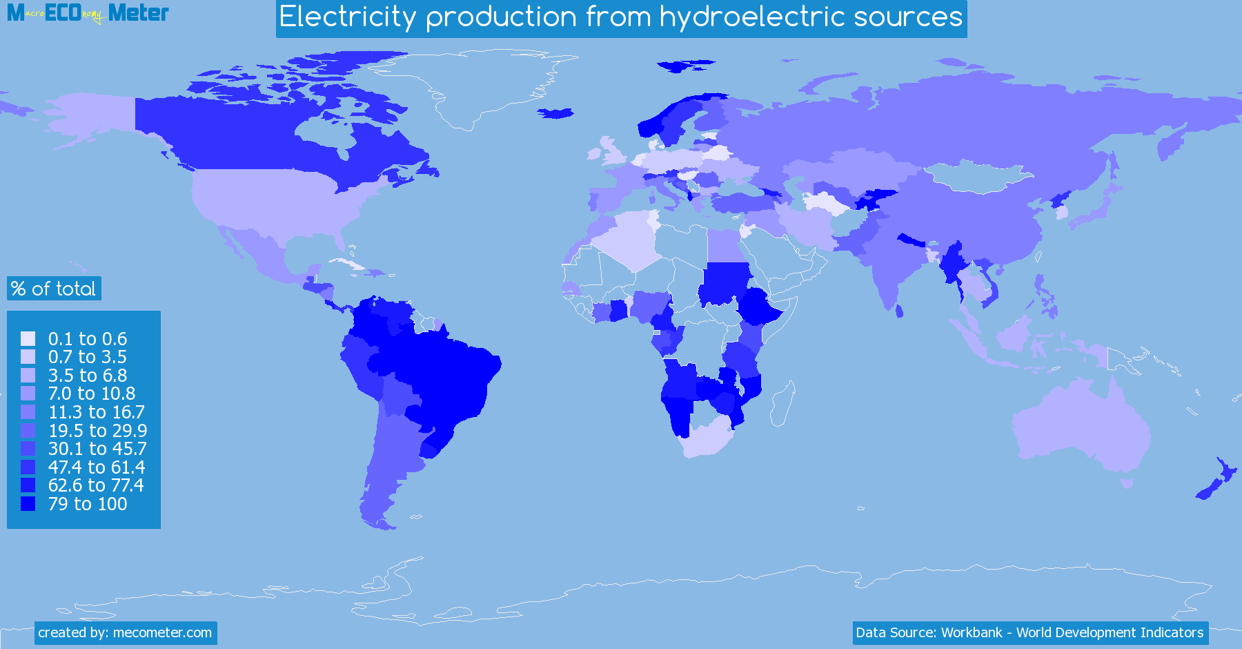 Worldmap of all countries colored to reflect the values of Electricity production from hydroelectric sources