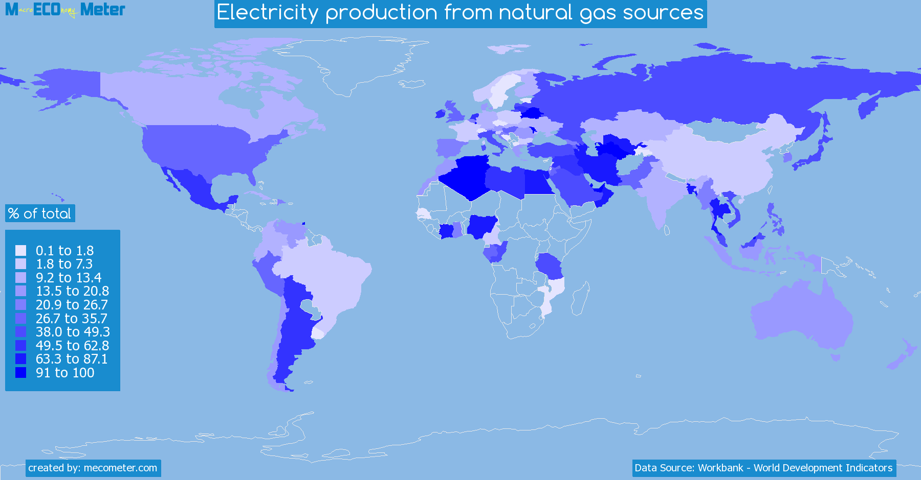 Worldmap of all countries colored to reflect the values of Electricity production from natural gas sources