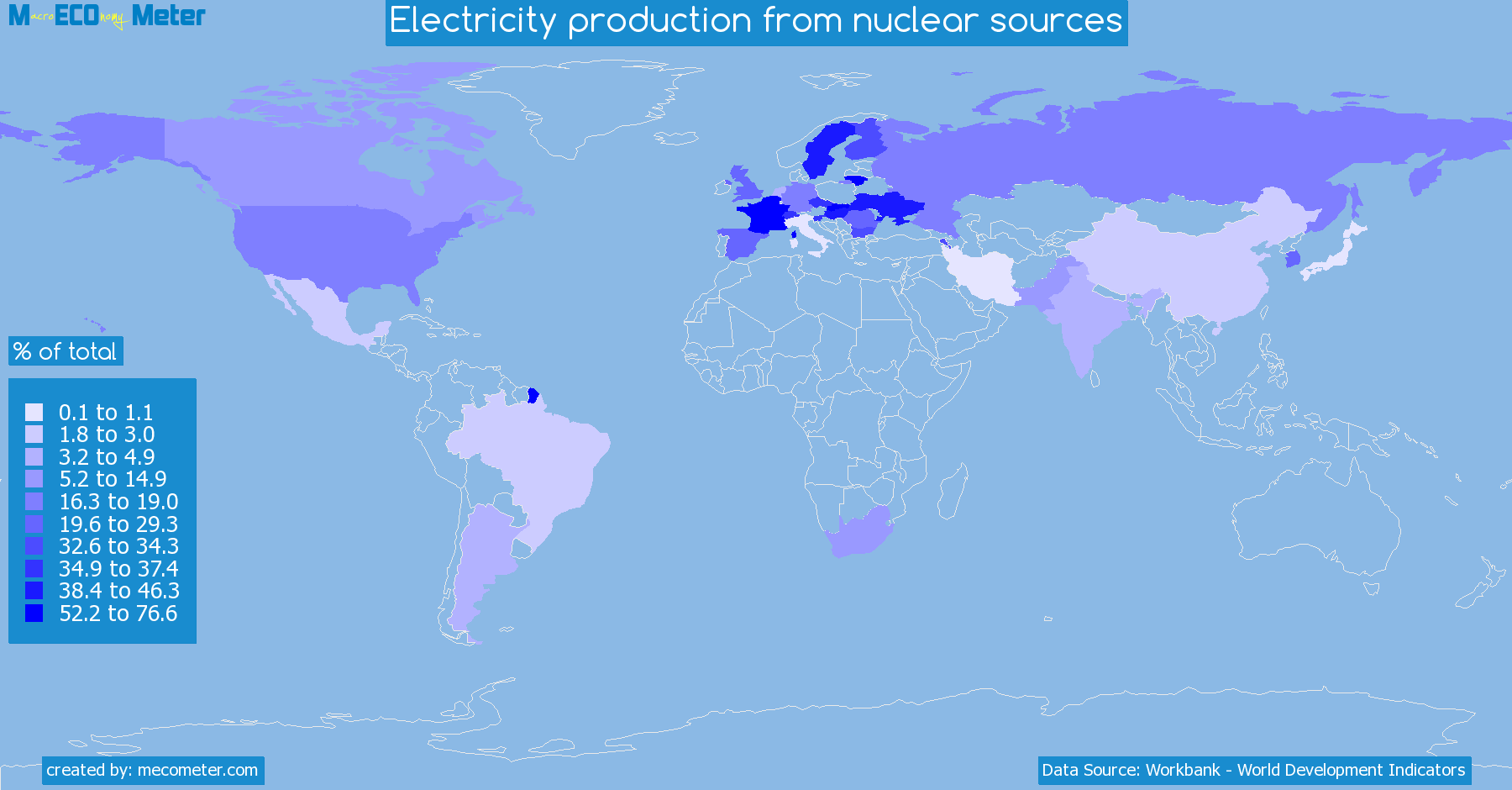 Worldmap of all countries colored to reflect the values of Electricity production from nuclear sources