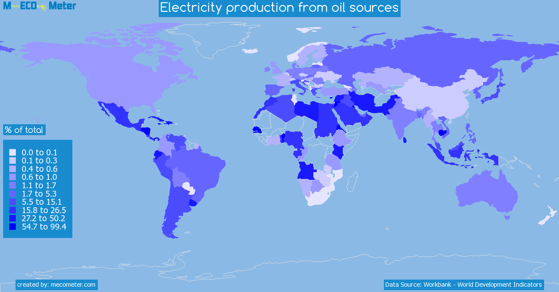 Worldmap of all countries colored to reflect the values of Electricity production from oil sources