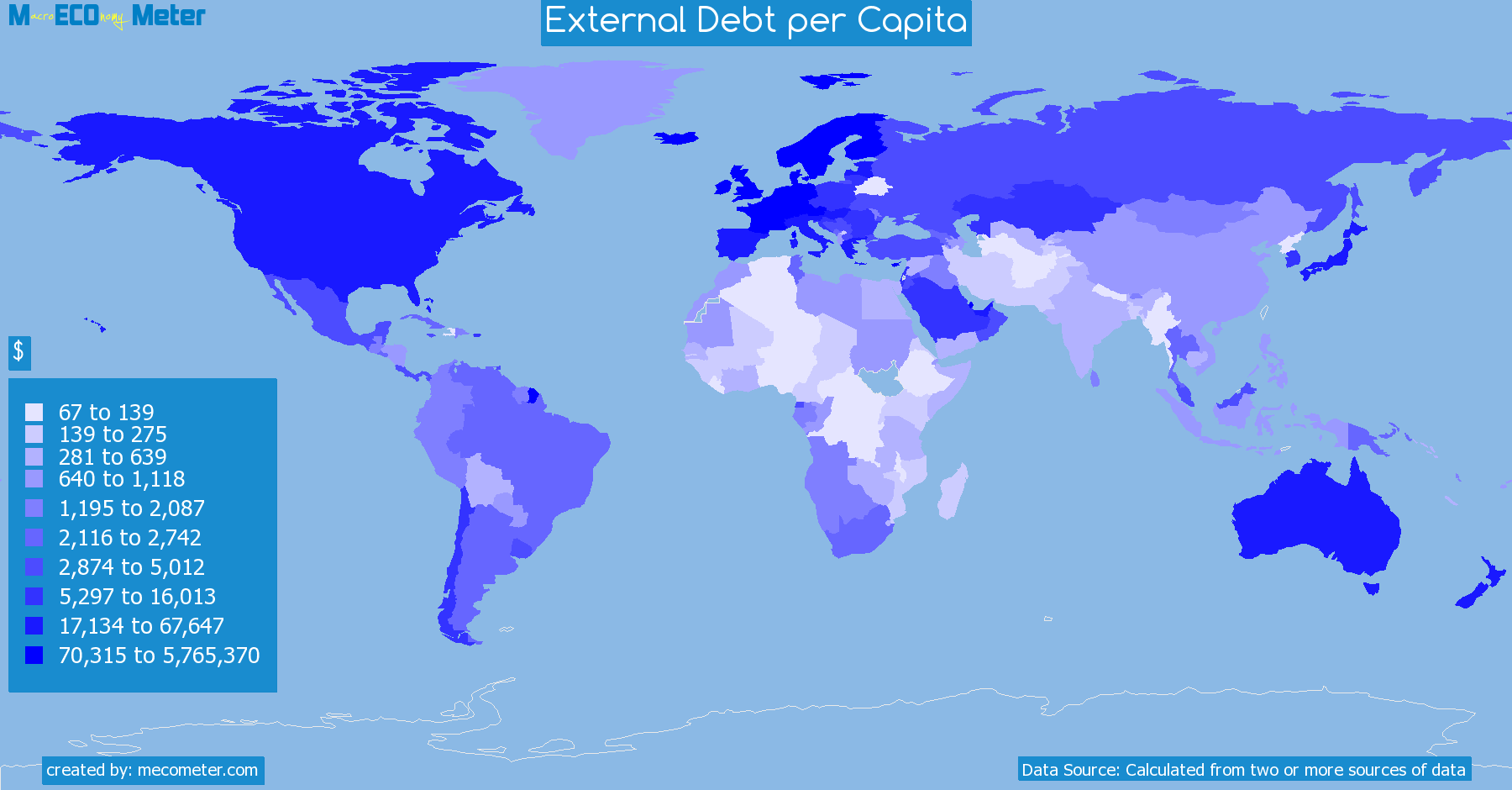 Worldmap of all countries colored to reflect the values of External Debt per Capita