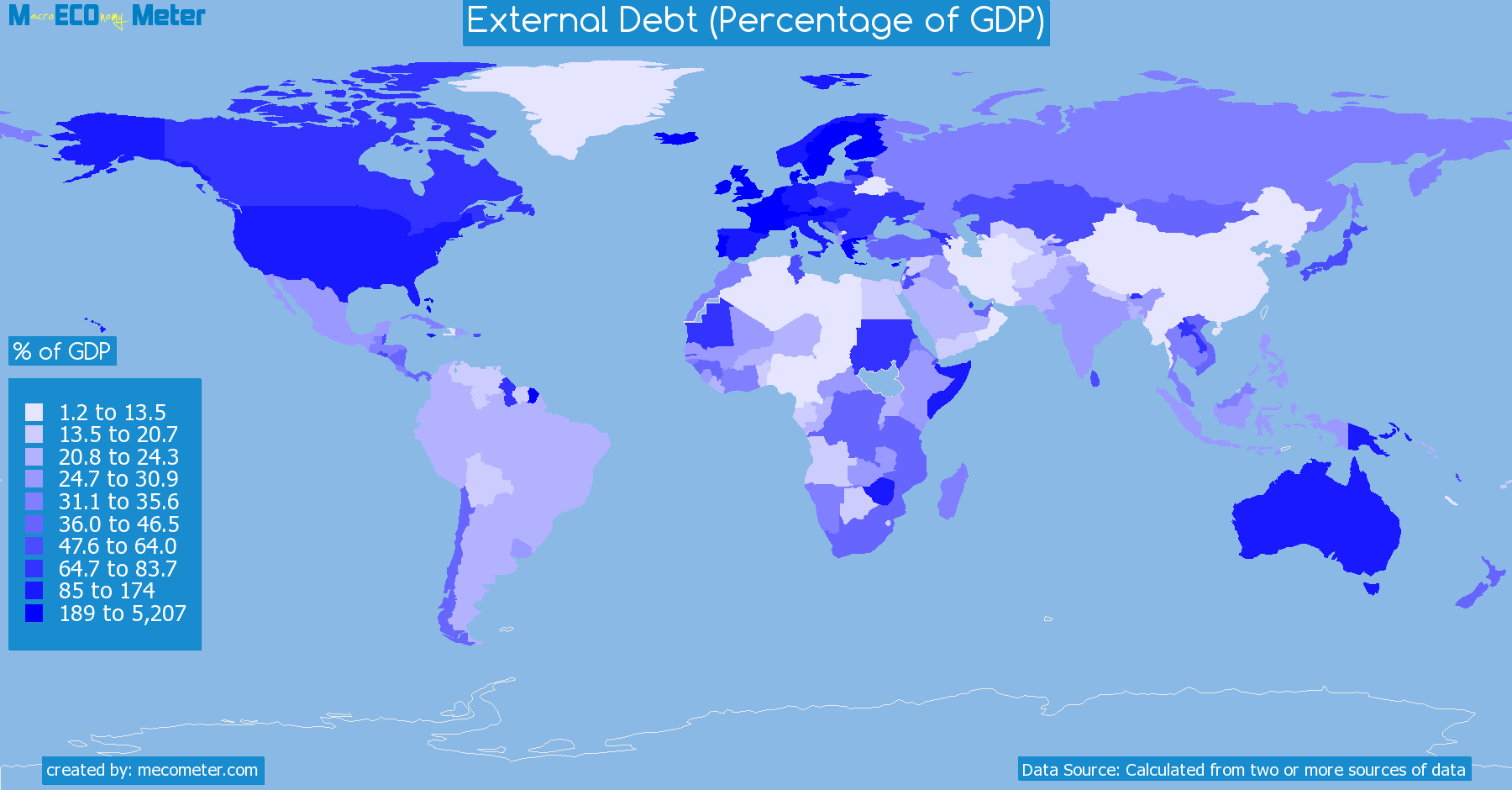Worldmap of all countries colored to reflect the values of External Debt (Percentage of GDP)