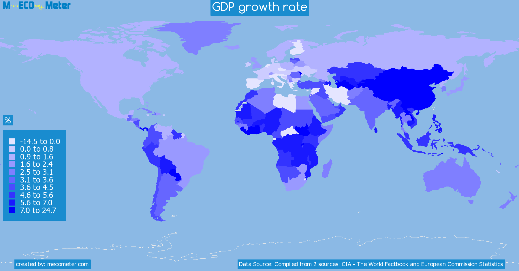 Worldmap of all countries colored to reflect the values of GDP growth rate