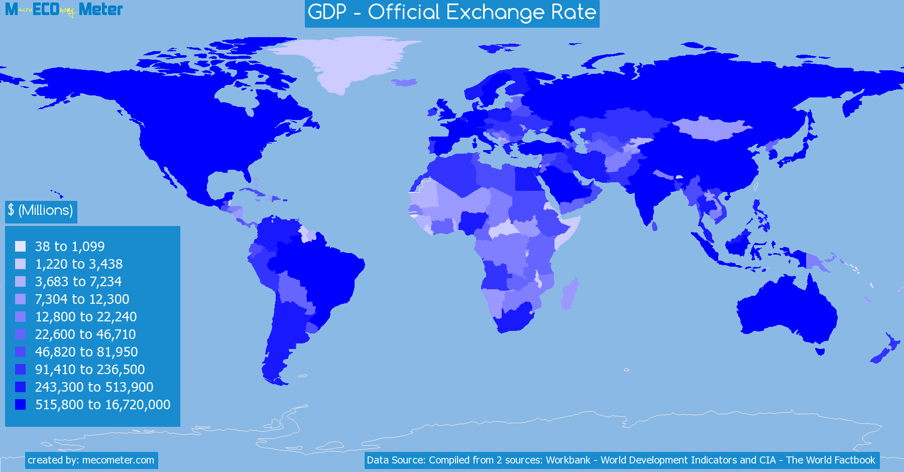 Worldmap of all countries colored to reflect the values of GDP - Official Exchange Rate