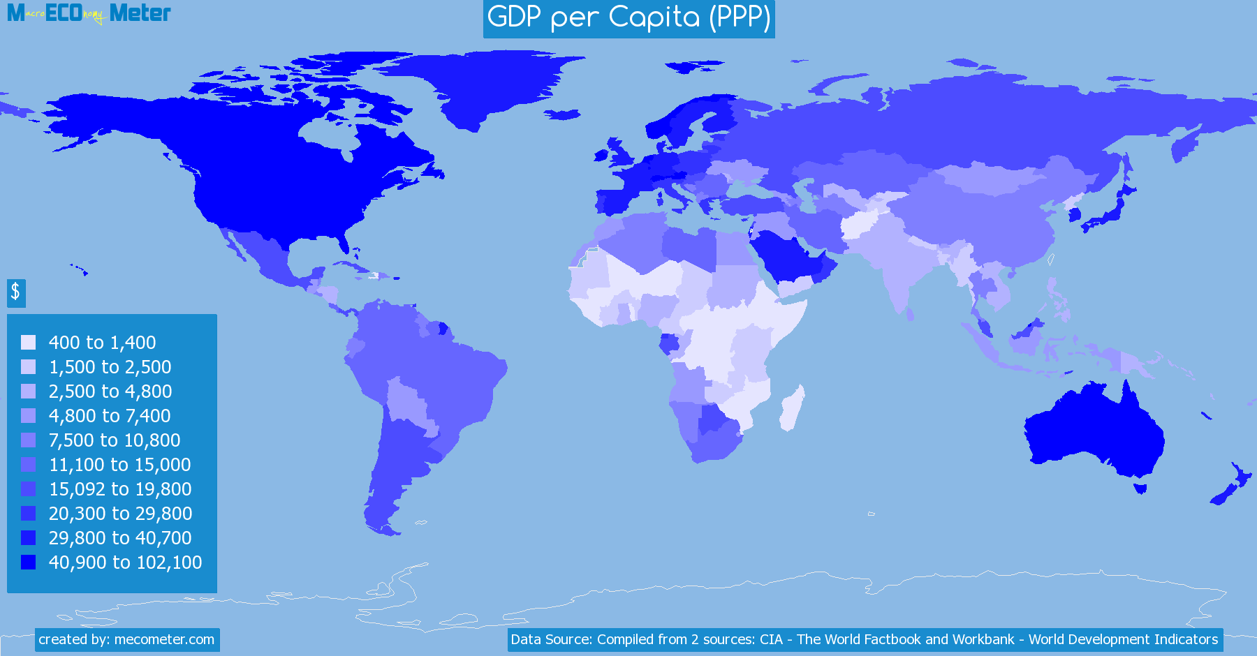 Worldmap of all countries colored to reflect the values of GDP per Capita (PPP)
