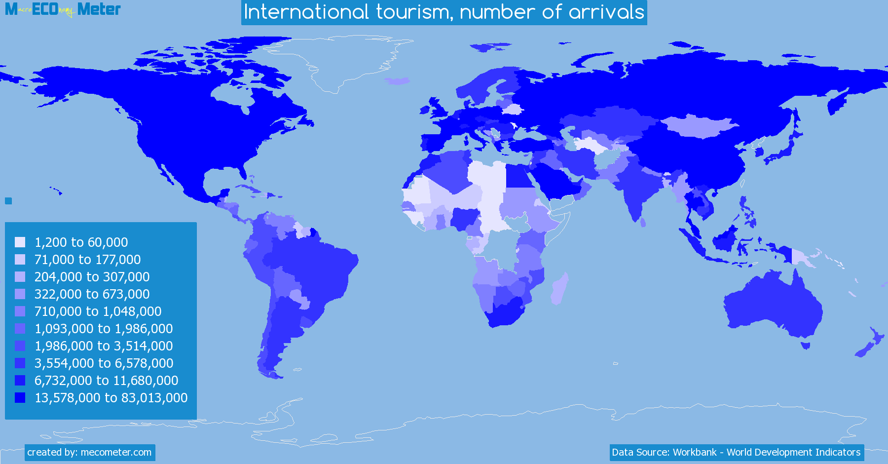 Worldmap of all countries colored to reflect the values of International tourism, number of arrivals