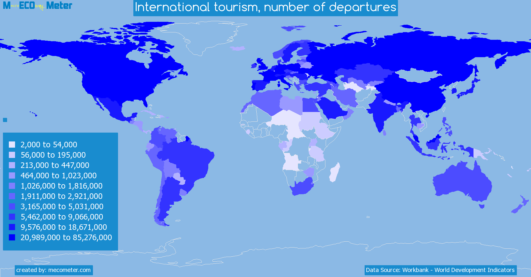 Worldmap of all countries colored to reflect the values of International tourism, number of departures