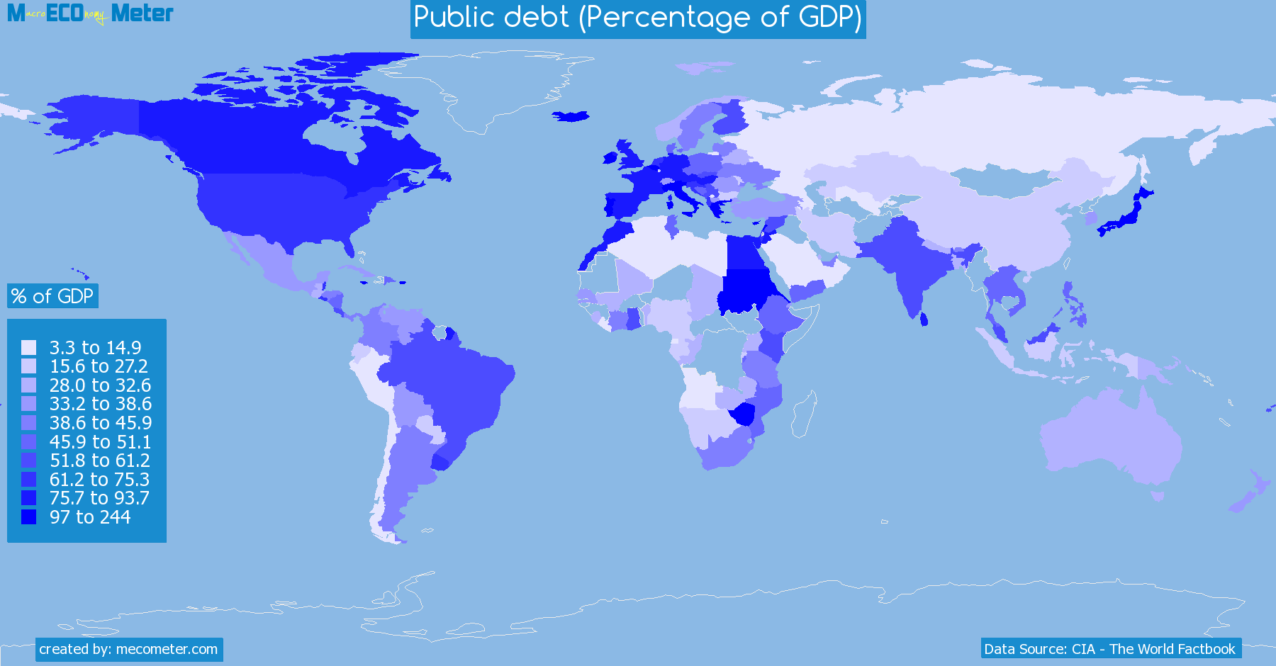 Worldmap of all countries colored to reflect the values of Public debt (Percentage of GDP)