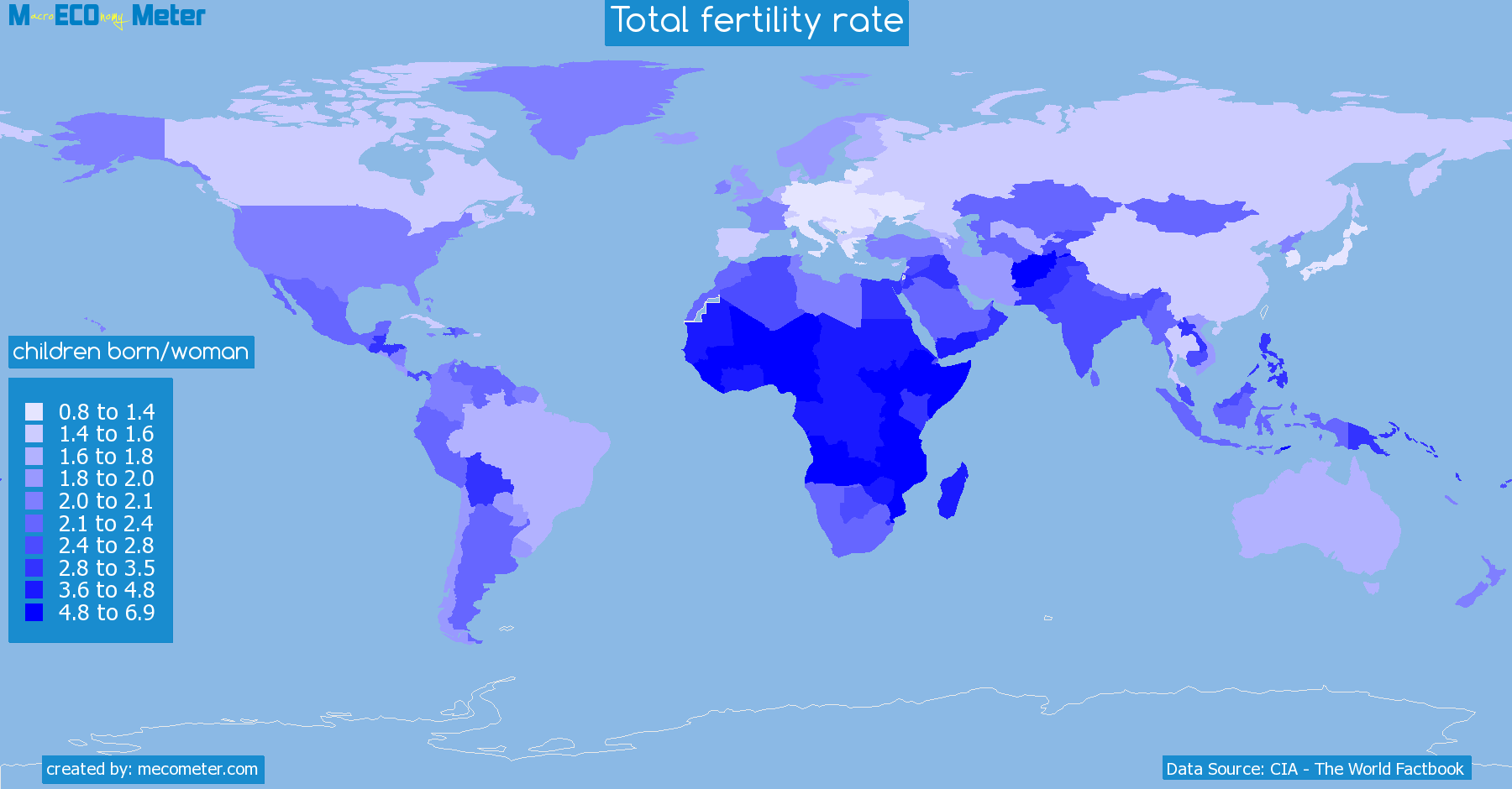 Worldmap of all countries colored to reflect the values of Total fertility rate