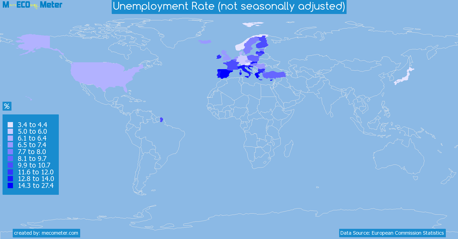 Worldmap of all countries colored to reflect the values of Unemployment Rate (not seasonally adjusted)