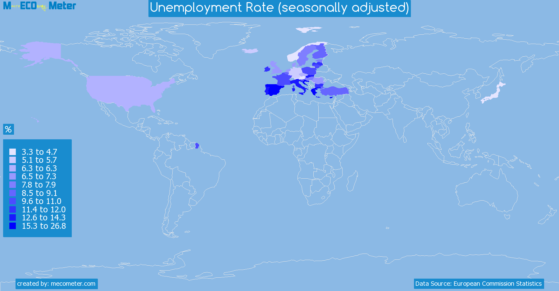 Worldmap of all countries colored to reflect the values of Unemployment Rate (seasonally adjusted)