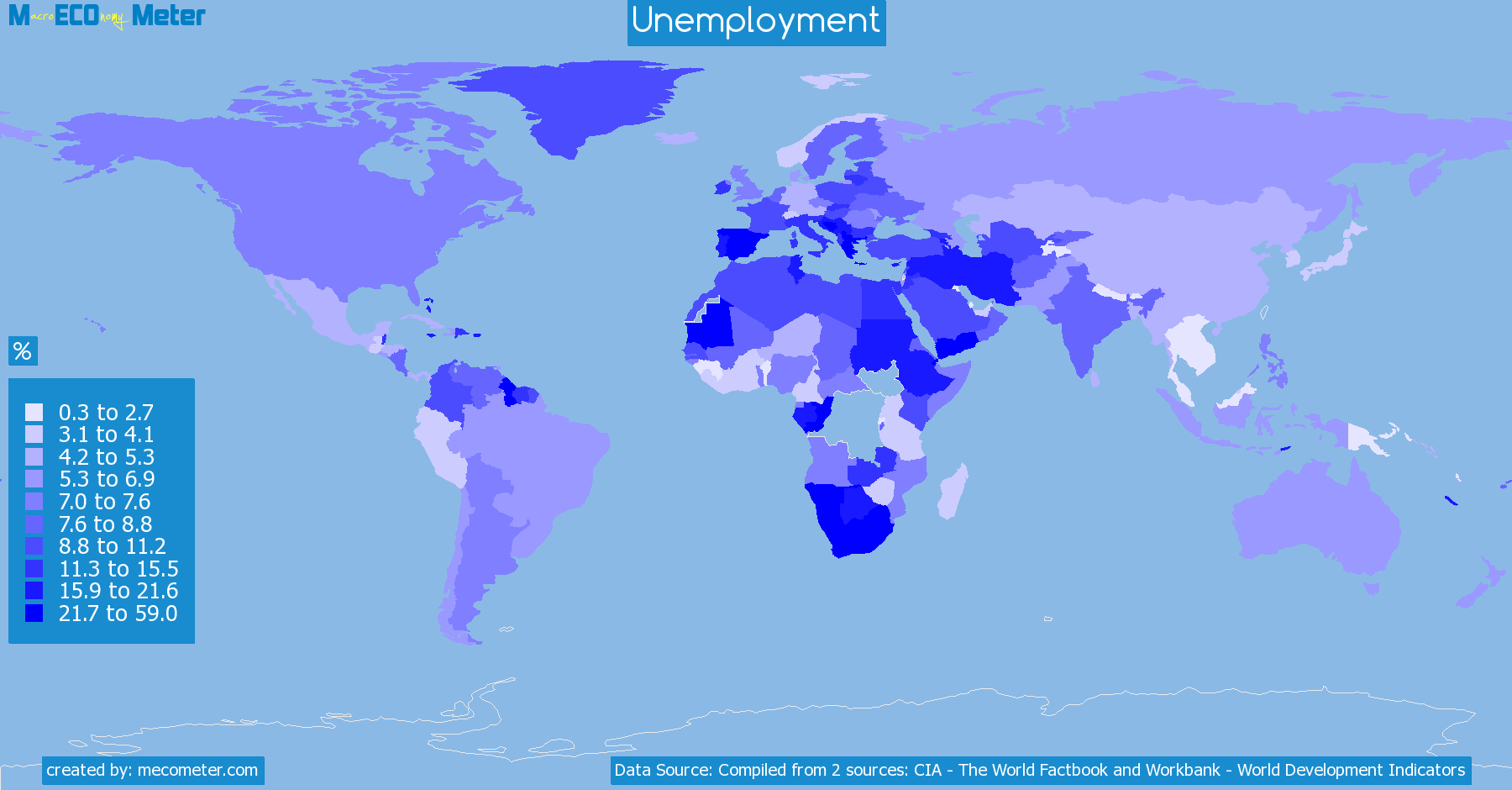 Worldmap of all countries colored to reflect the values of Unemployment