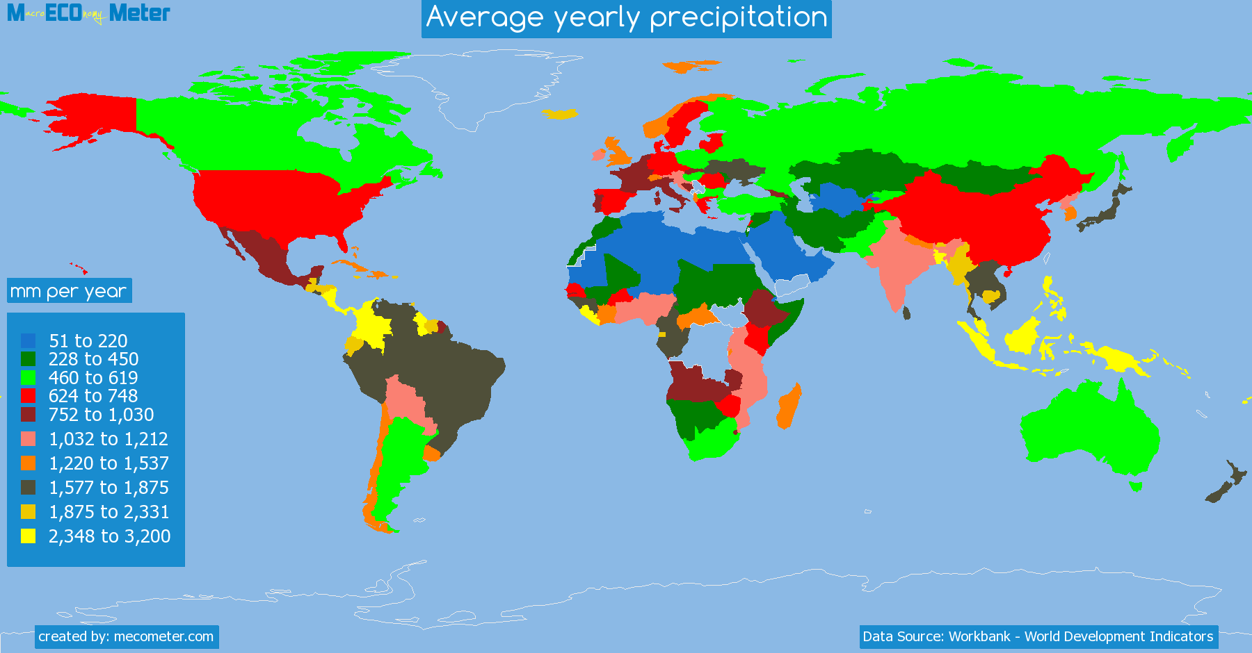 Precipitation World Map.Average Yearly Precipitation By Country