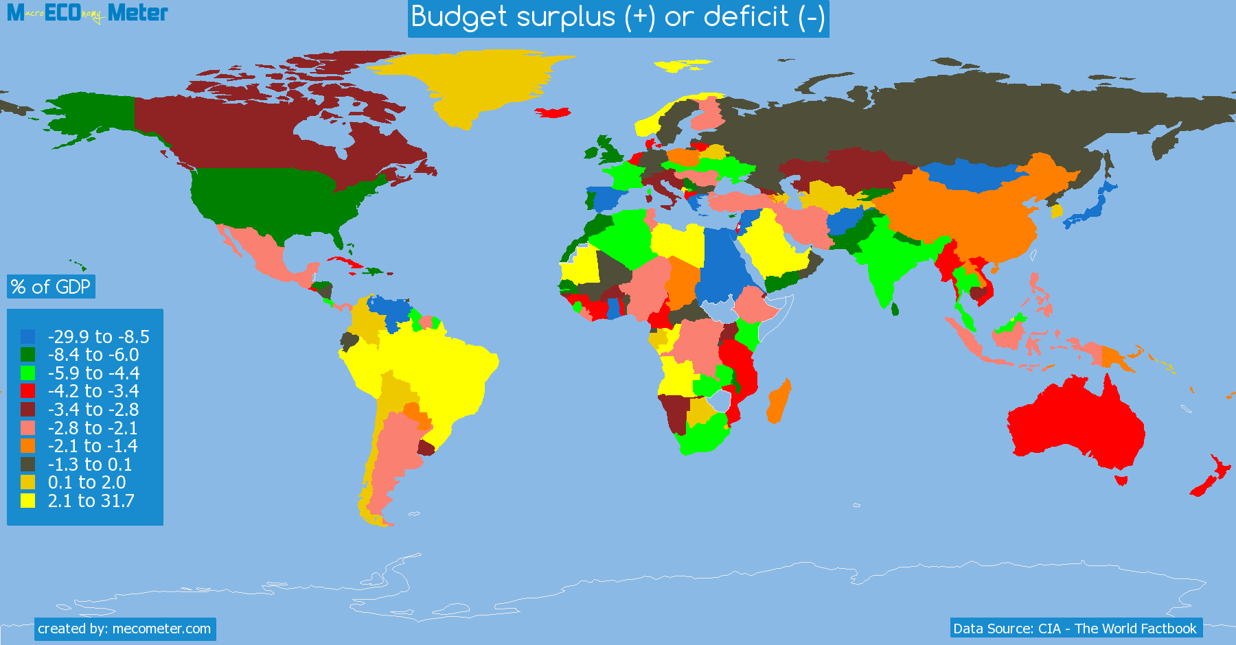 list of countries by Budget surplus (+) or deficit (-)