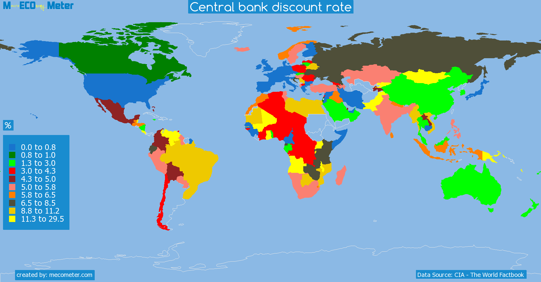 list of countries by Central bank discount rate