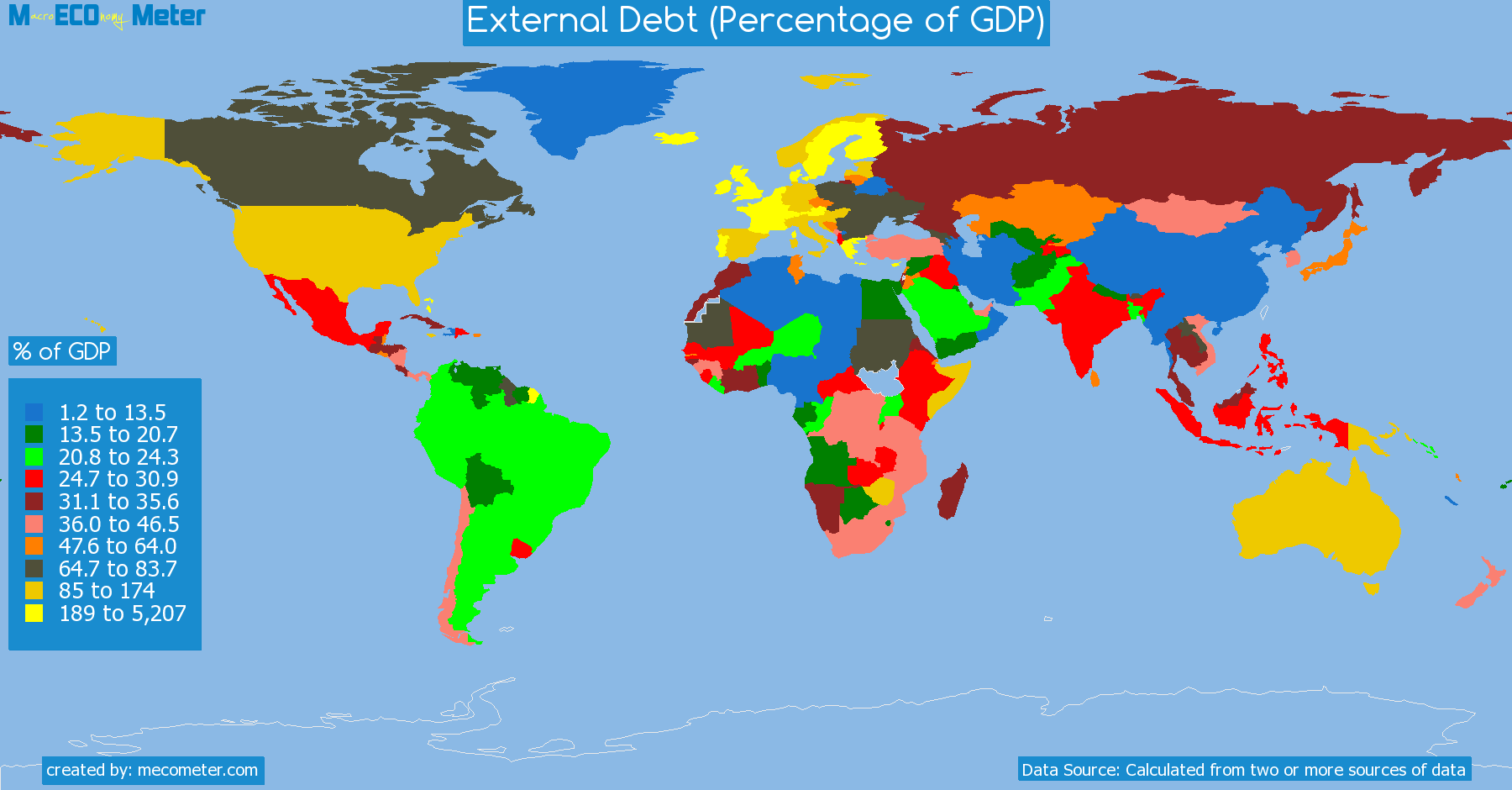 list of countries by External Debt (Percentage of GDP)