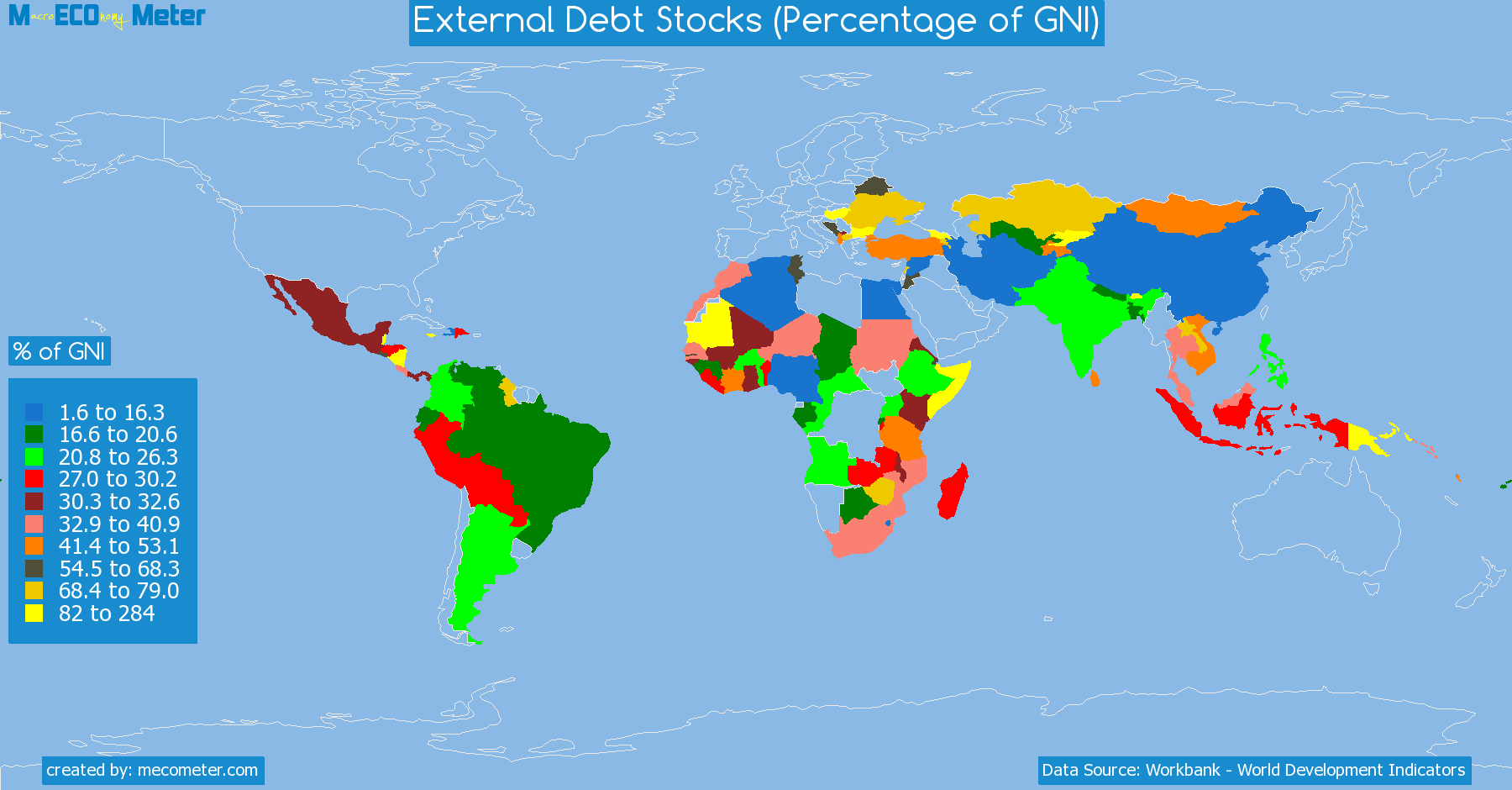 list of countries by External Debt Stocks (Percentage of GNI)
