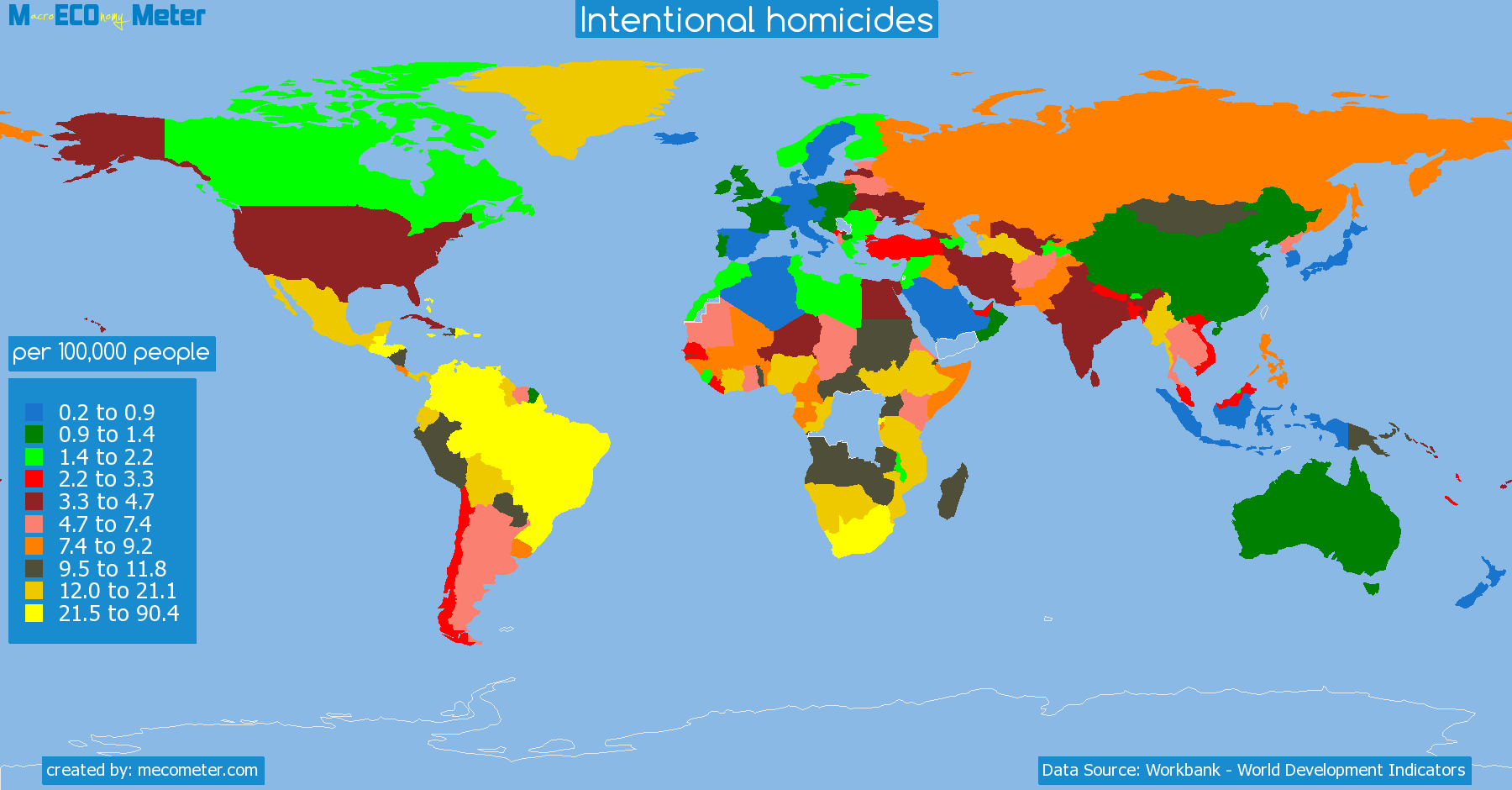 list of countries by Intentional homicides