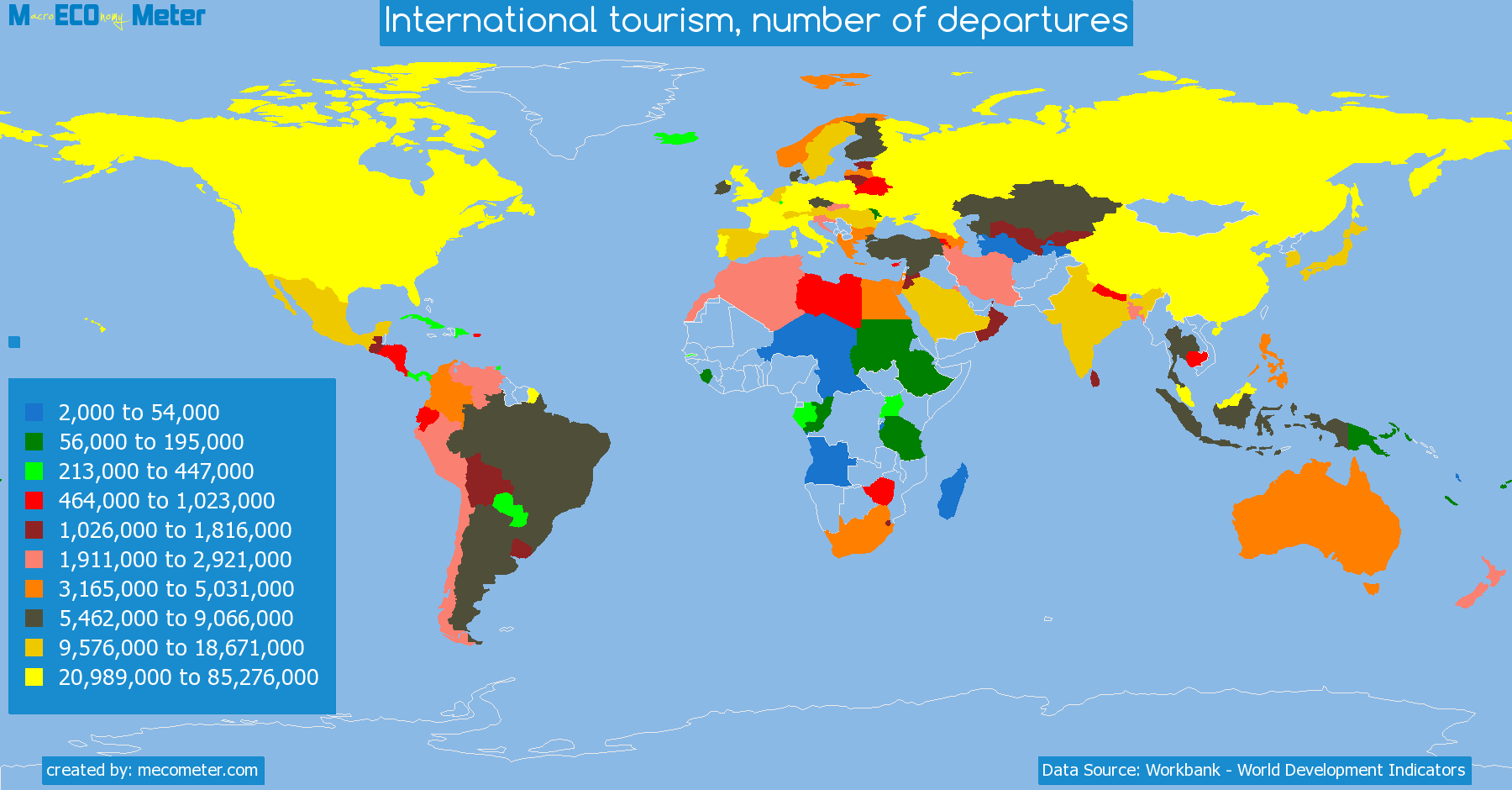 list of countries by International tourism, number of departures