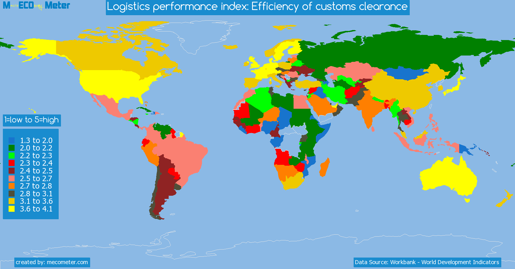 list of countries by Logistics performance index: Efficiency of customs clearance