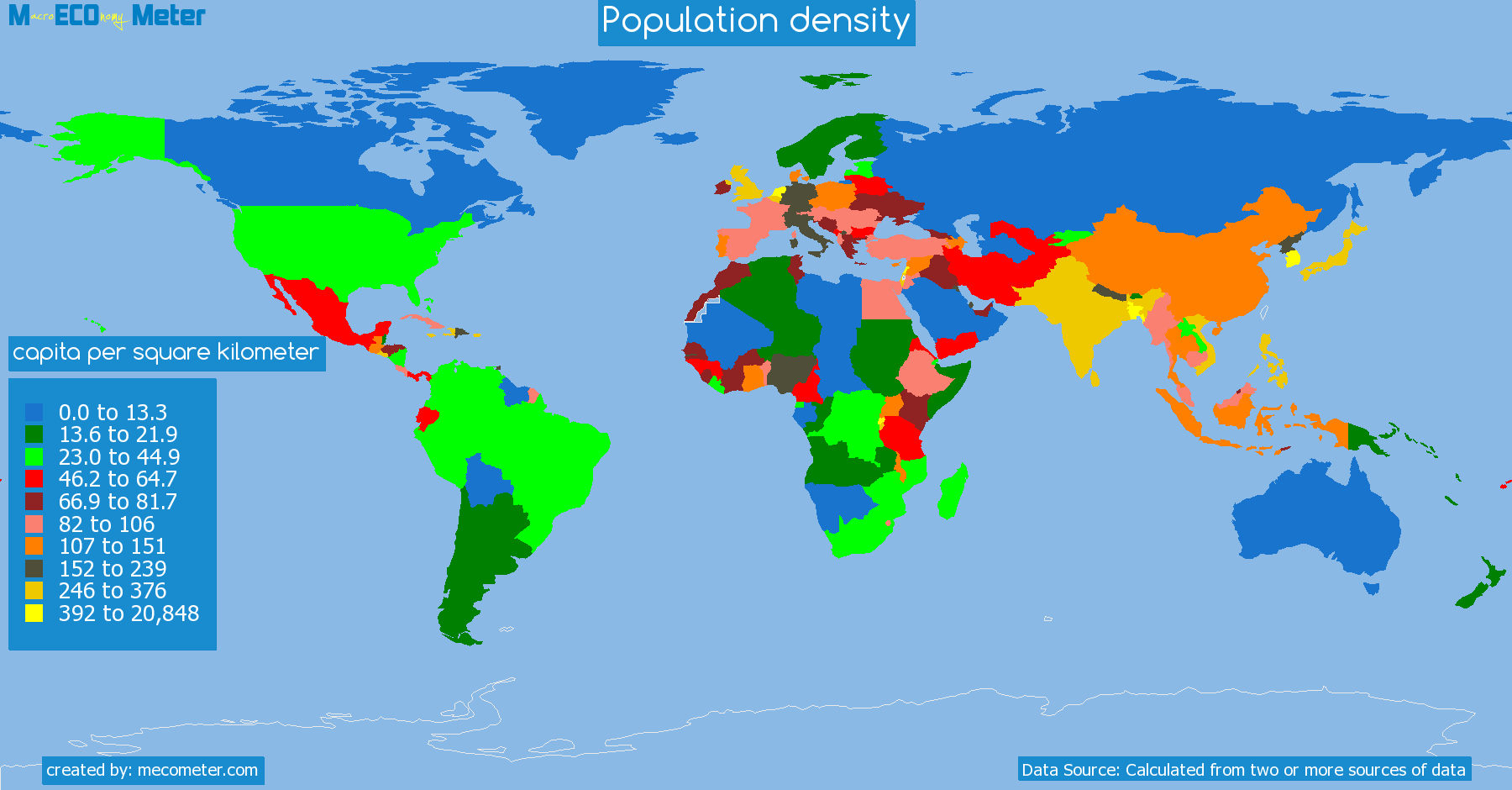 list of countries by Population density