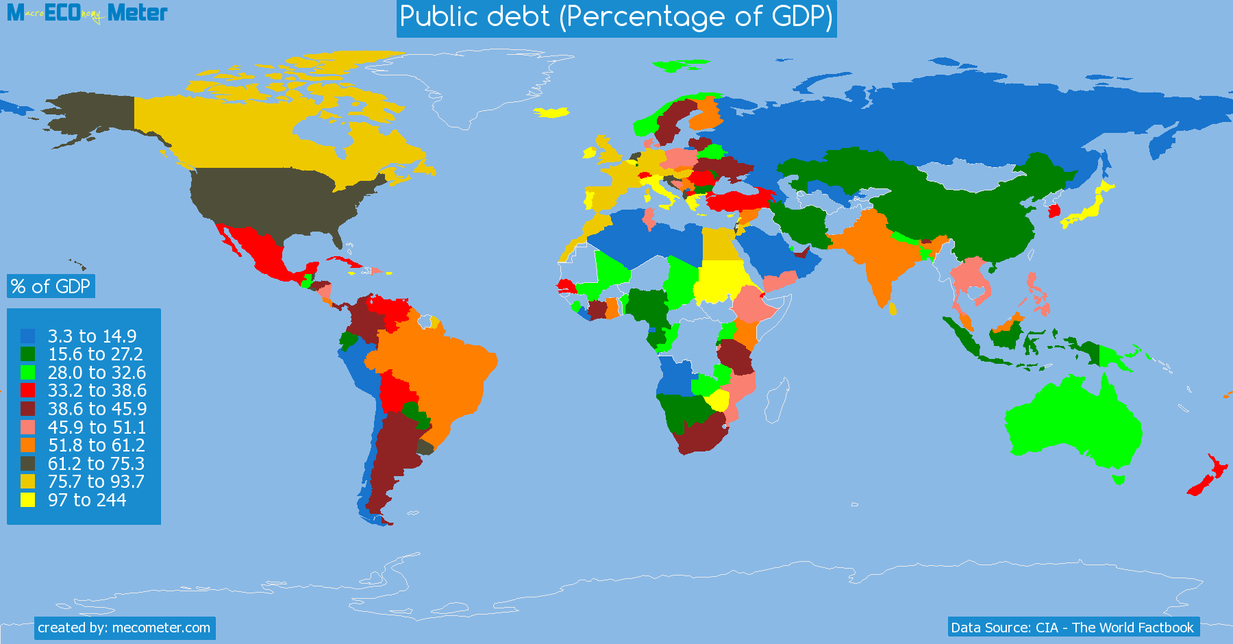 list of countries by Public debt (Percentage of GDP)