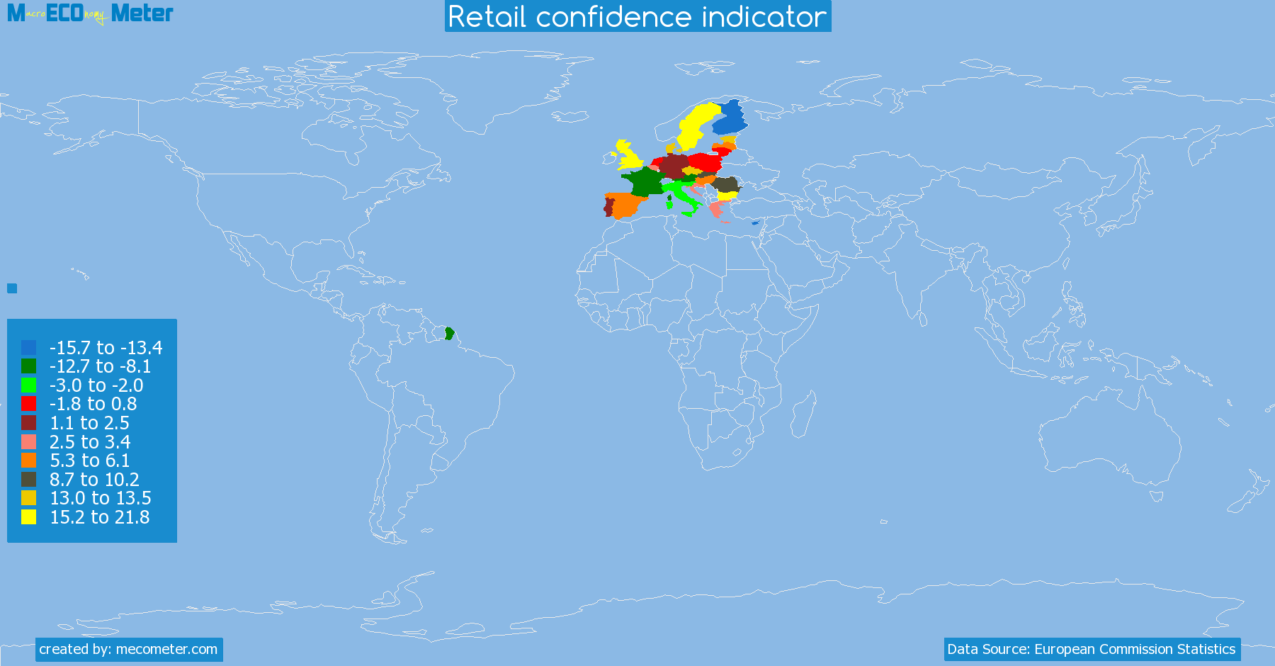 list of countries by Retail confidence indicator