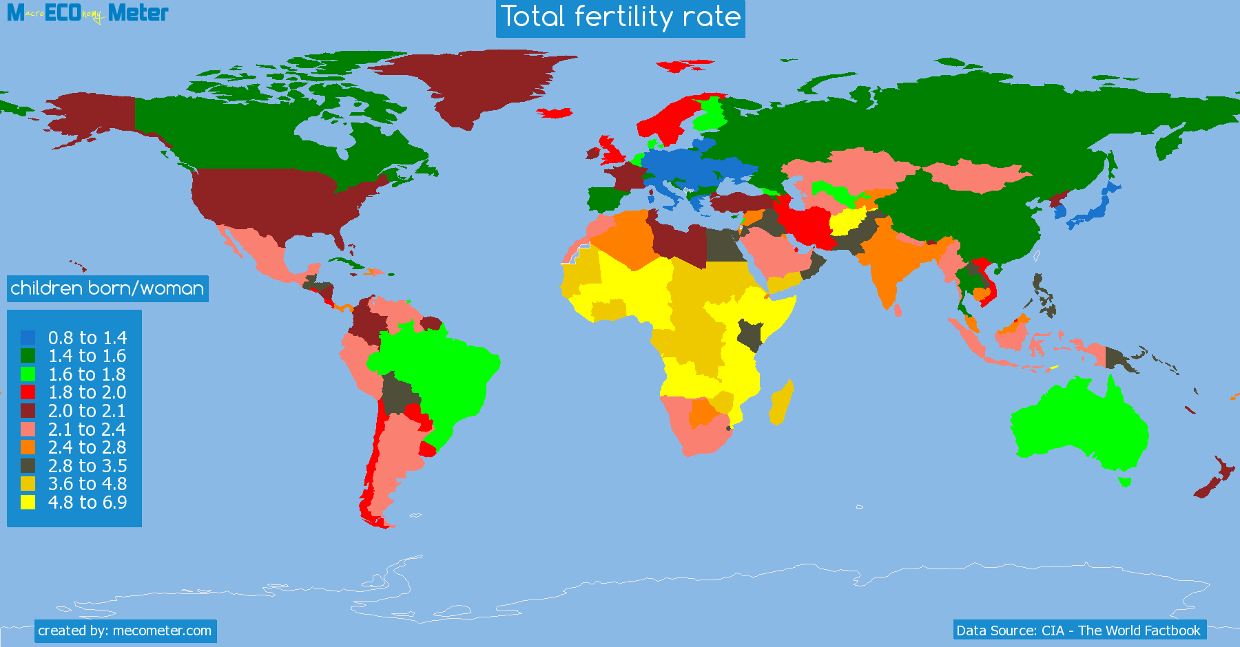 list of countries by Total fertility rate