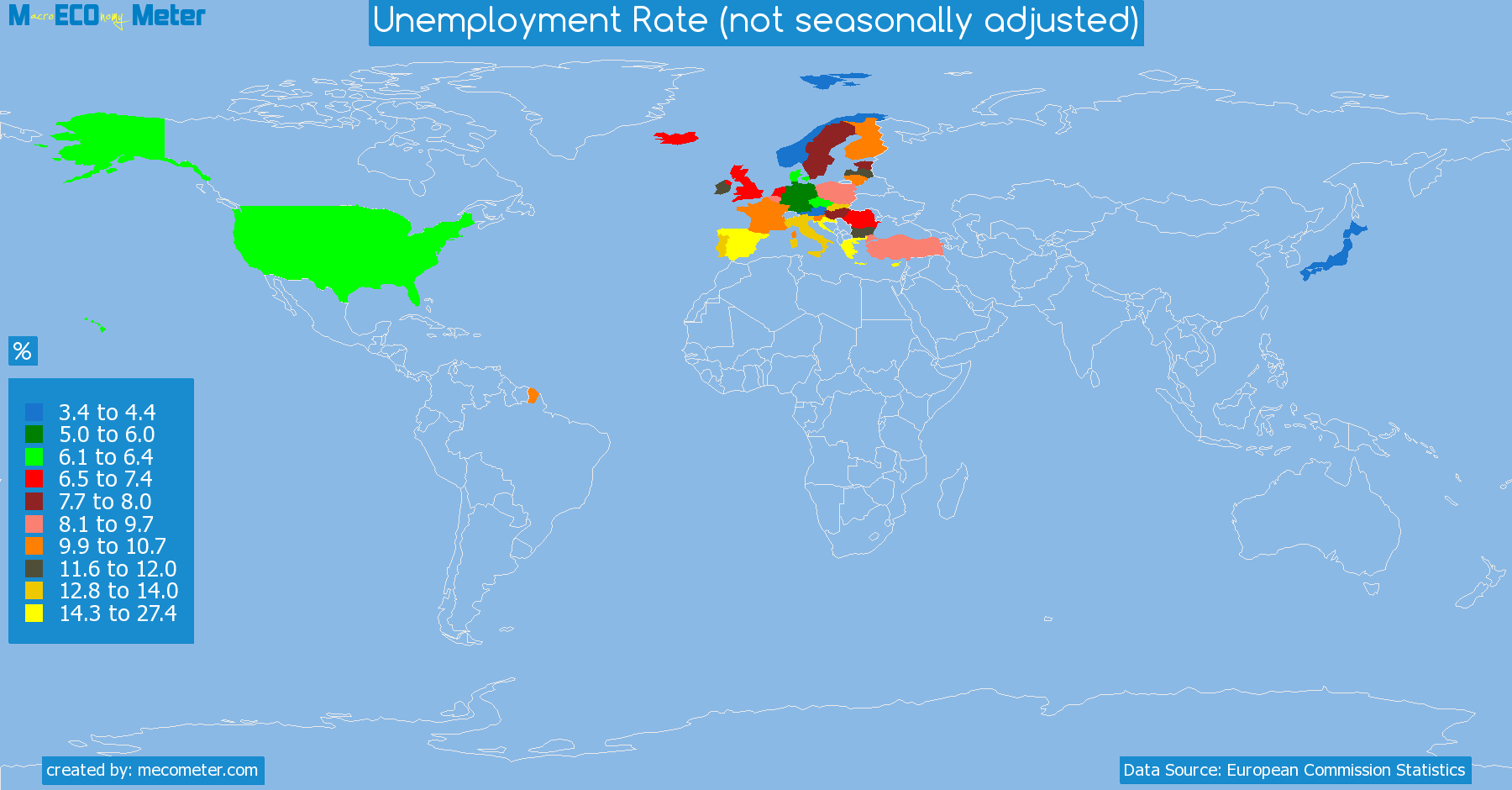 list of countries by Unemployment Rate (not seasonally adjusted)