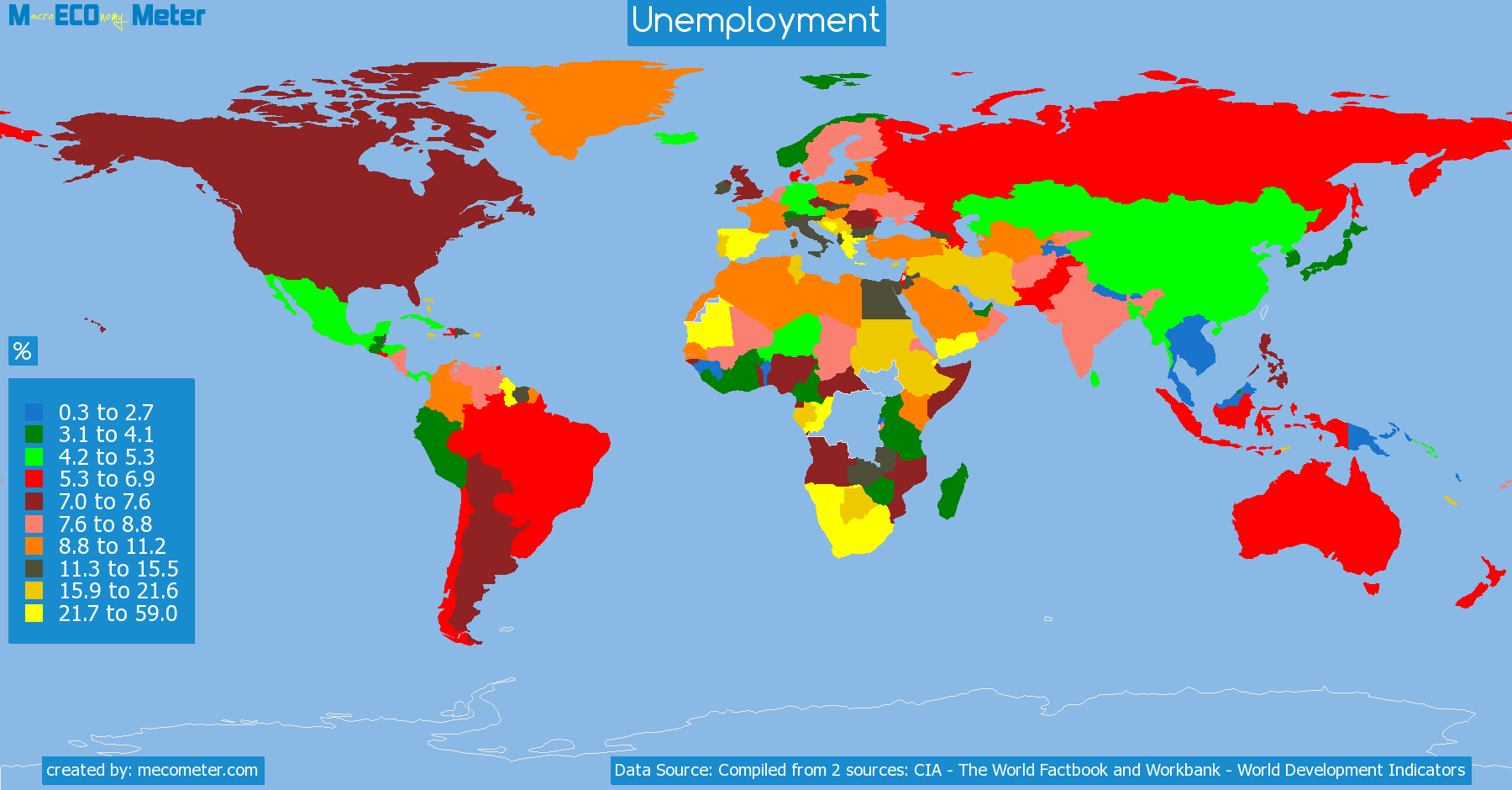list of countries by Unemployment
