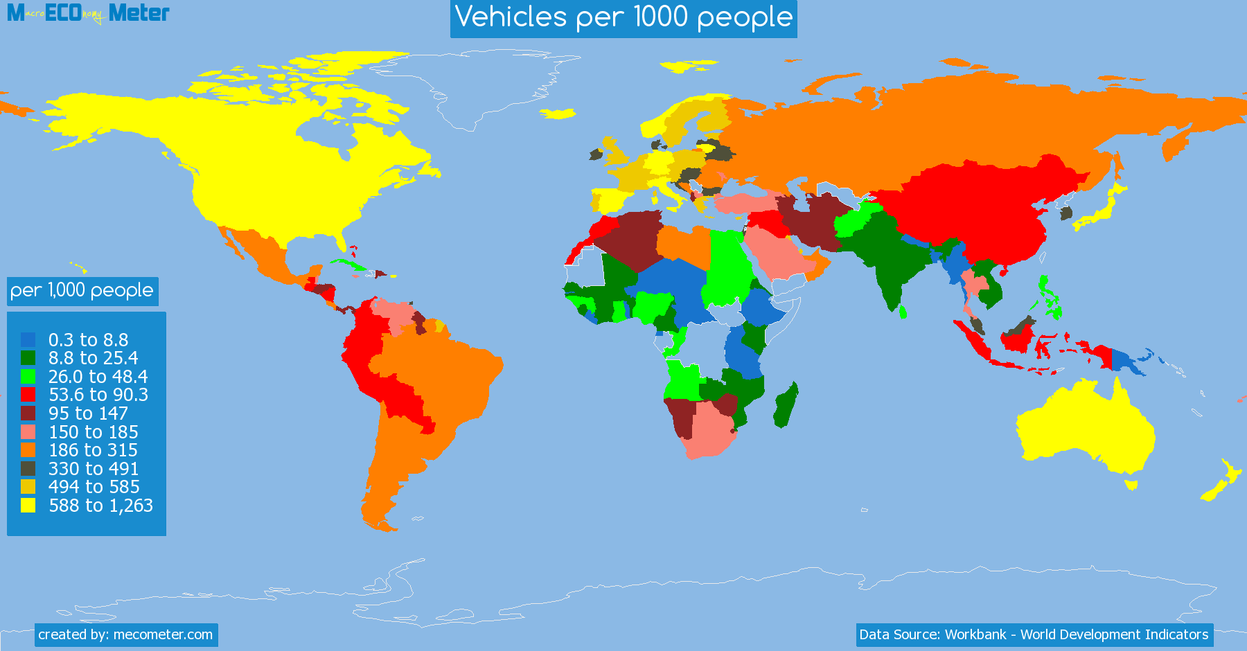 list of countries by Vehicles per 1000 people